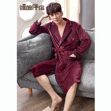 Island velvet robe male winter warm coral velvet robe bathrobe men's pajamas large size autumn and winter long yukata