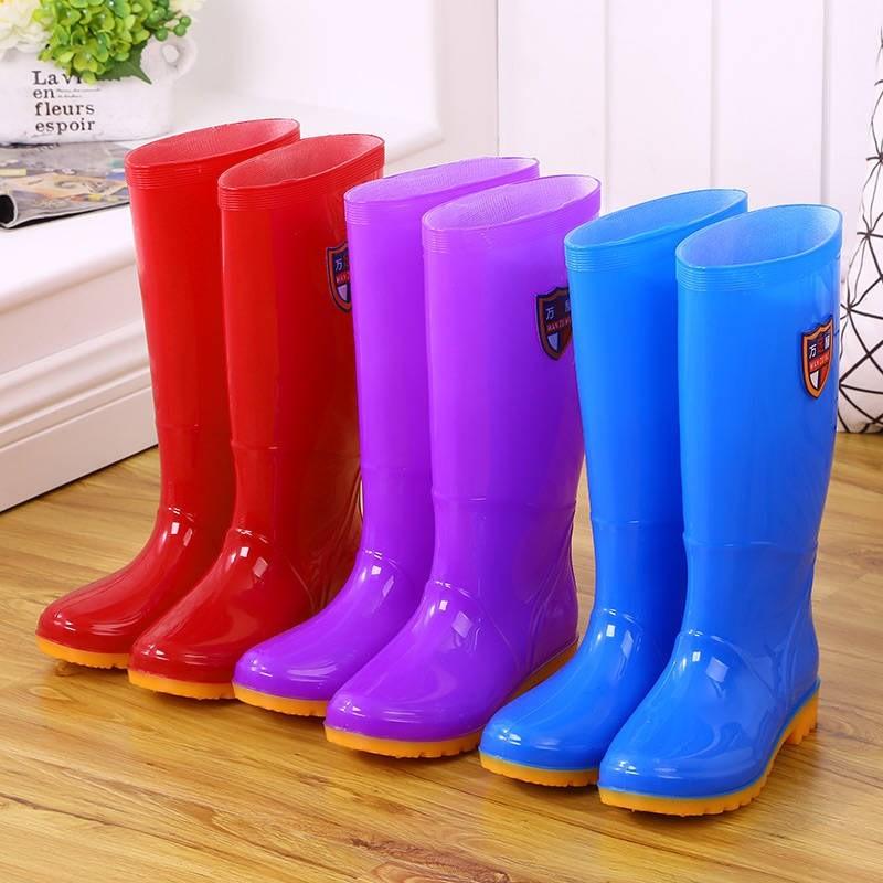 High tube rain shoes waterproof shoes long tube rain boots rubber overshoes water boots bucket women Plush adult fashion antiskid summer