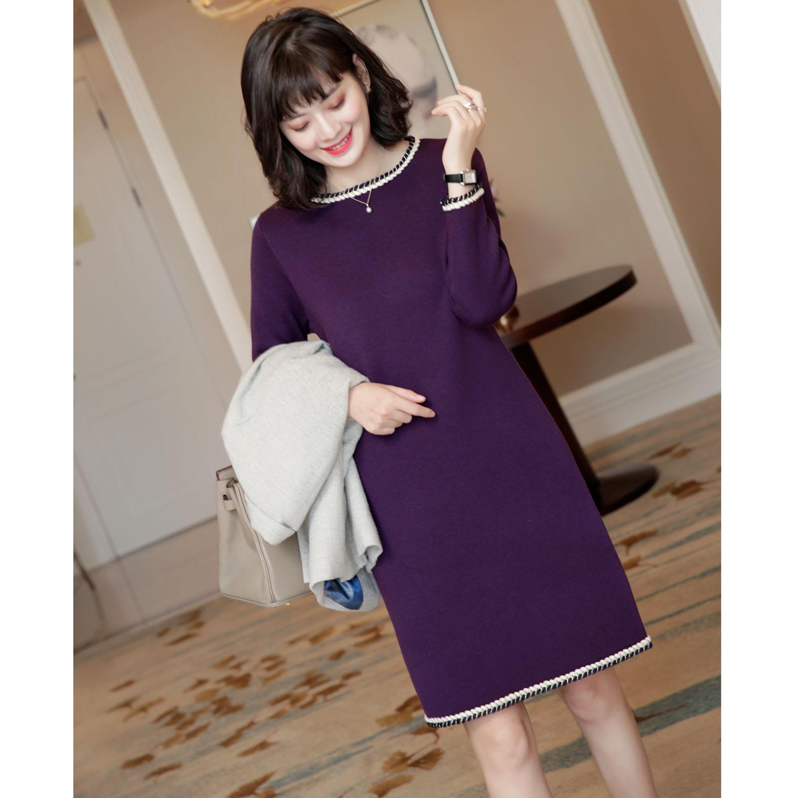 喜欢这种有腔调的裙装~ 金丝麻花编织点缀 圆领羊毛针织裙连衣裙