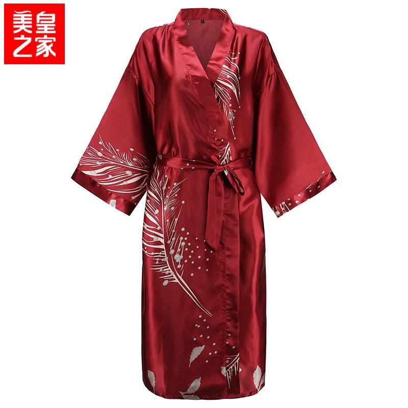 限1000张券睡袍女夏薄款新娘晨袍开衫性感丝绸浴袍红色伴娘结婚冰丝大码睡衣