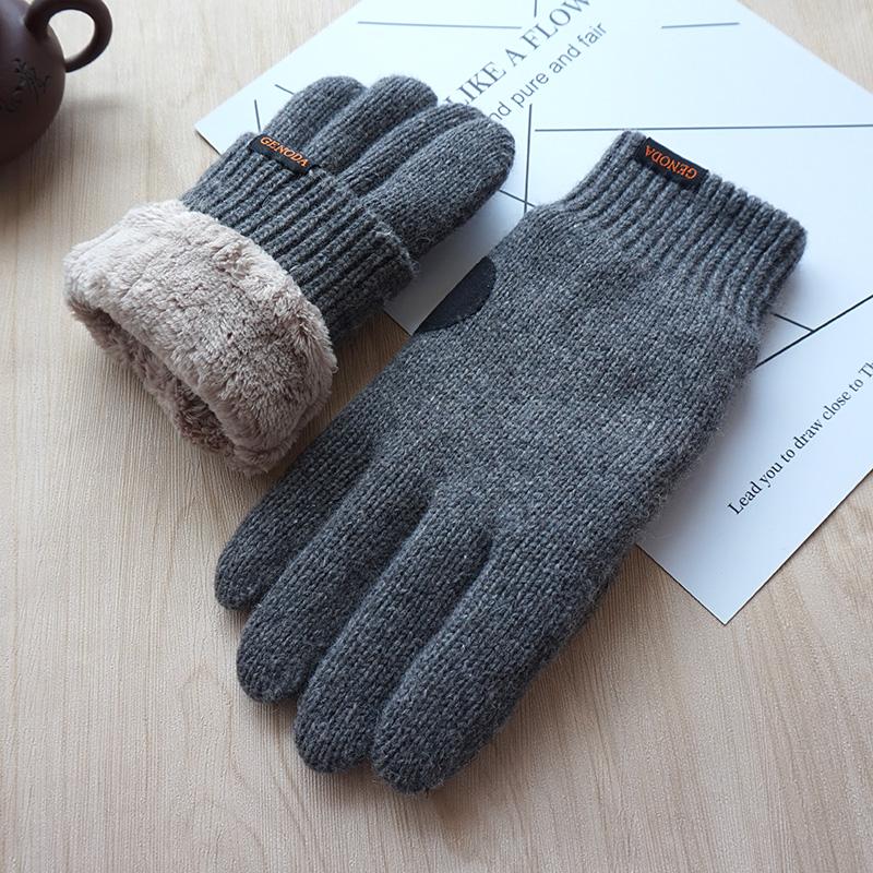 歌诺达男女士冬季情侣款加绒保暖触屏纯羊毛手套针织加厚骑行开车