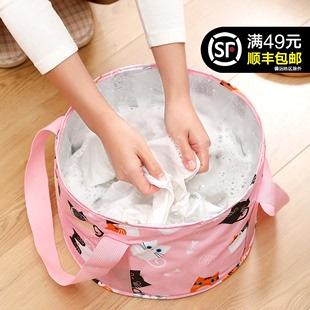 旅行便携式 可折叠水盆旅游用品洗衣脸盆深大号泡脚袋家用洗脚水桶