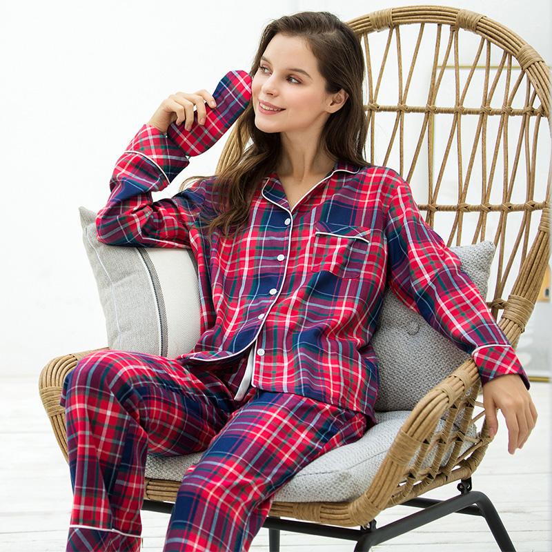 アルリアのパジャマの女性春秋純綿の全綿の長袖の経典の簡単な格子は家と住宅の服の2つのスーツを着ることができます。