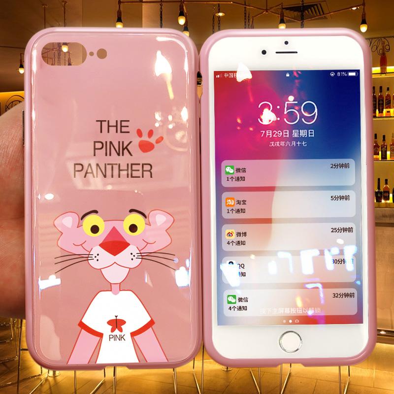 万磁王苹果7PLUS手机壳IPHONE8玻璃壳粉红豹IOHONE卡通女抖音网红I7七8P八全包防摔IHONE潮IPONE个性创意磁吸
