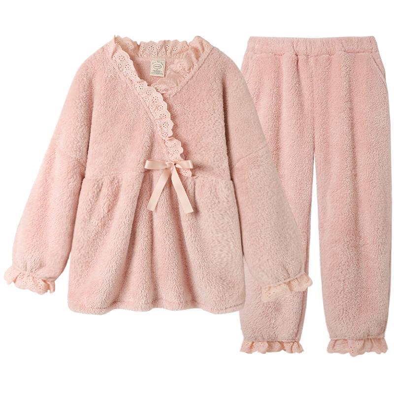 Pinksea珊瑚绒睡衣女秋冬季可爱家居服套装新款公主加厚冬季睡衣
