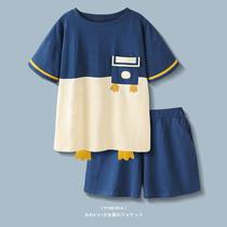【设计师系列】睡衣女夏季新款卡通鸭纯棉短袖短裤薄款宽松家居服