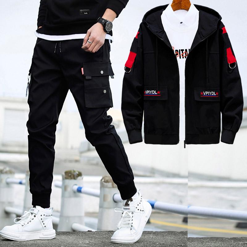 男士外套春秋季韩版潮流学生工装夹克男装帅气搭配2020新款一套装