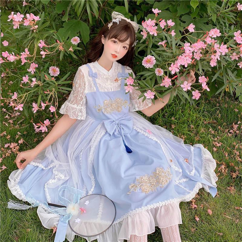 Original Lolita heavy industry classic elegant temperament Chinese style fake two piece light Lolita short sleeve dress for female Xia