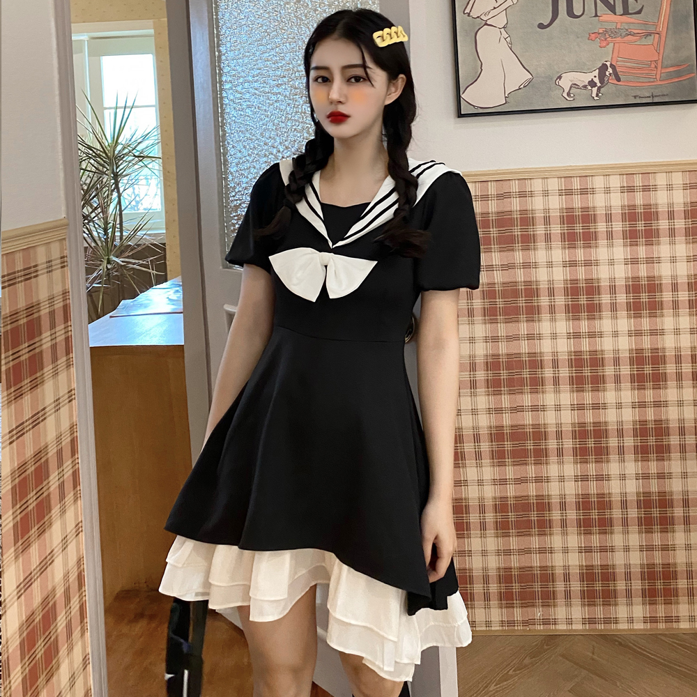 Summer 2020 Lolita Navy waist slim dress short small sailor JK dress Fairy Dress