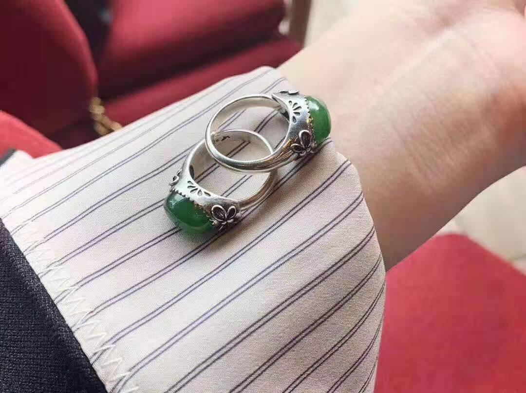原创设计天然和田碧玉原石镶嵌925银托戒指