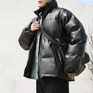 男士羽绒立领冬季短款面包服pu皮衣