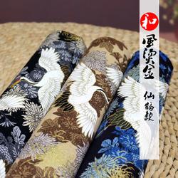 仙鹤款烫金棉布鹤舞和风烫金古风旗袍服装面料全棉布料面料