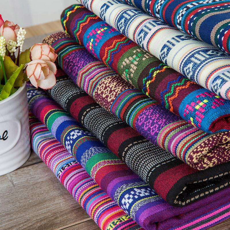 条纹中国民族风几何色织图案桌布