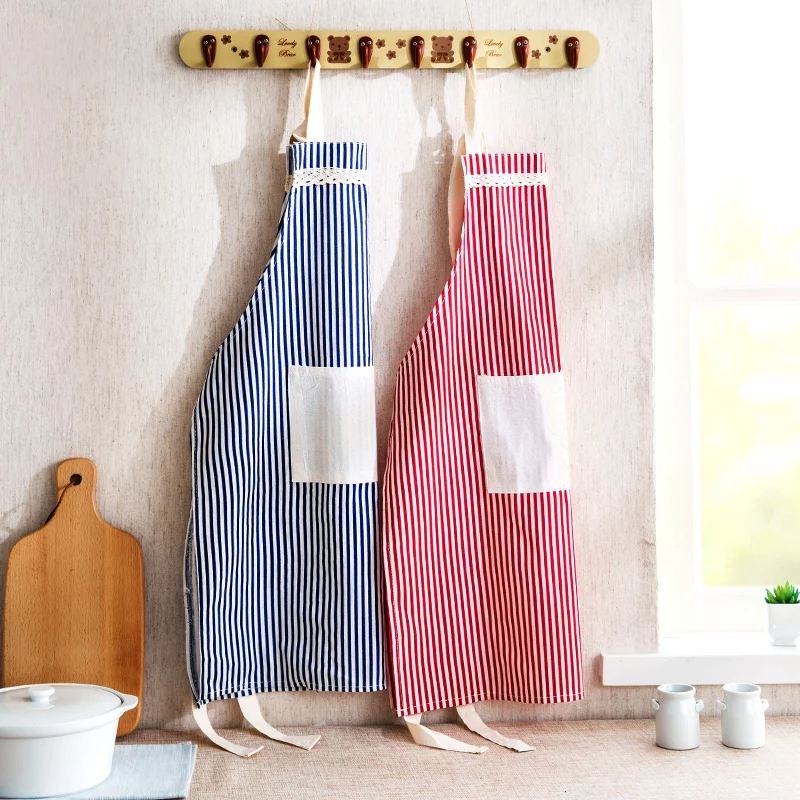 Fresh striped cotton and hemp apron, home oil proof, antifouling, cooking apron, dining room manicure overalls for men and women