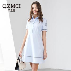 芊之美女胖仙女mm2018新款夏时尚显瘦洋气减龄藏肉连衣裙3219
