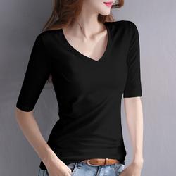 黑色中袖t恤女V领修身打底衫内搭2021年春季新款五分袖上衣七分袖