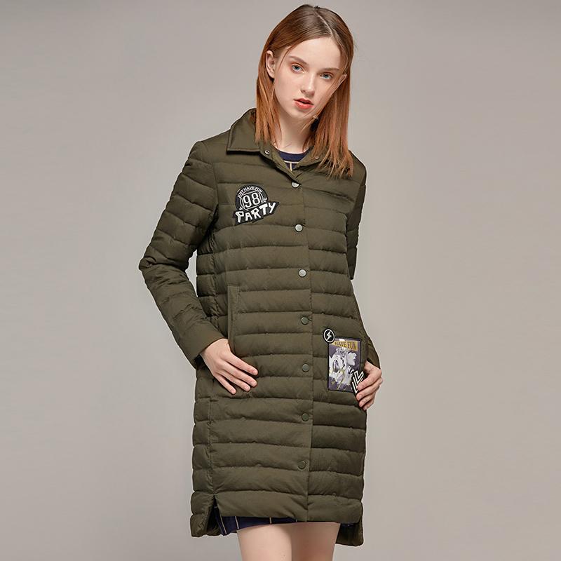 雪中飞春秋衬衫领中长款修身轻薄羽绒服潮时尚保暖外套2019