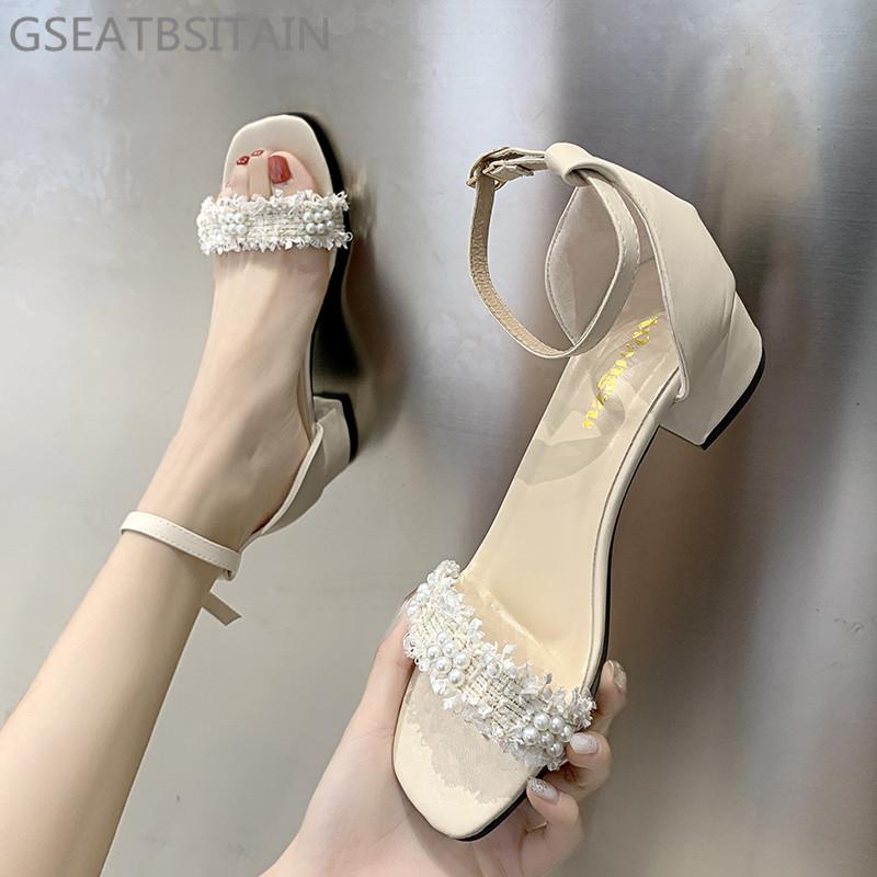 GSEATBSITAIN凉鞋女2020夏季新款网红粗跟仙女风百搭配裙子ins潮