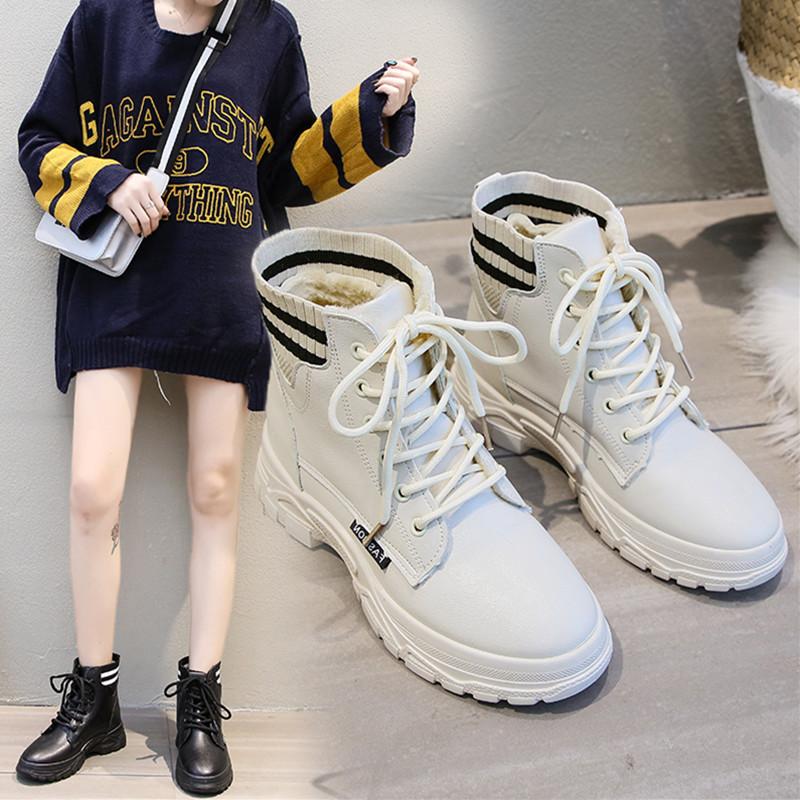 马丁靴女英伦风靴子女鞋新款2019冬季短靴网红百搭加绒保暖高帮鞋