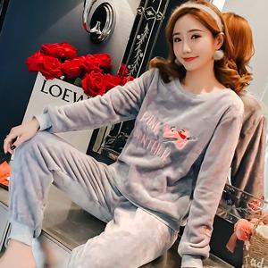 珊瑚绒睡衣女秋冬季长袖保暖加厚加绒甜美可爱法兰绒家居服套装发