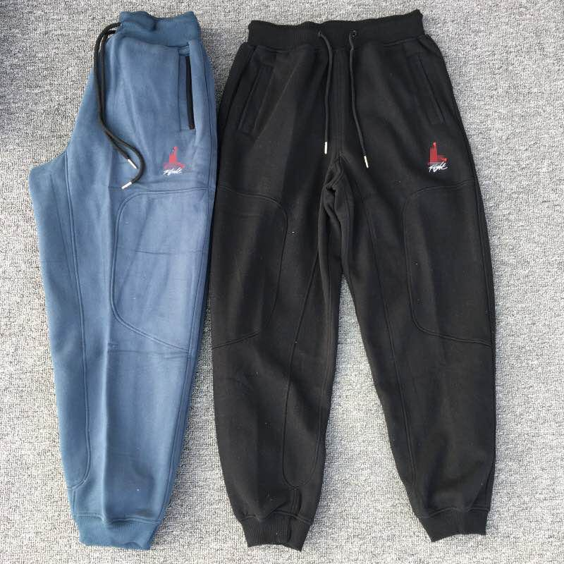 Mr. Qiao flying aj4 generation Yu wenle same style basketball pants Terry winter Plush closed foot sports pants