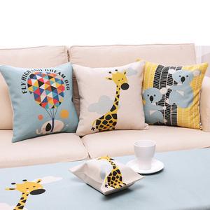 卡通抱枕棉麻北欧沙发客厅腰靠枕套