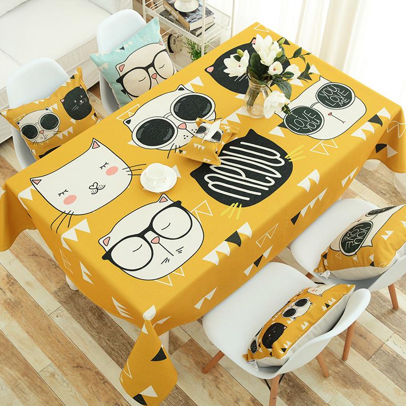 卡通棉麻餐桌布茶几布可愛布藝書桌布幼兒園兒童檯布床頭櫃蓋巾