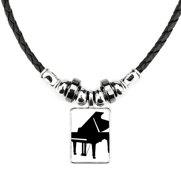 Piano, classical music, musical instrument design, handmade leather rope necklace pendant
