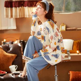 睡衣女士春秋款2021年新款长袖纯棉大码秋天全棉家居服套装秋冬季