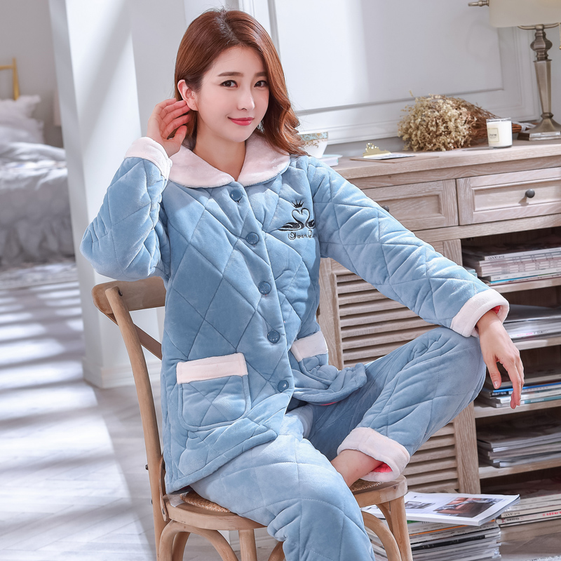 Winter pajamas womens coral cashmere three-layer cotton padded jacket