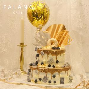 双层金色滴落ins网红气球生日创意蛋糕北京上海杭州深圳同城配送