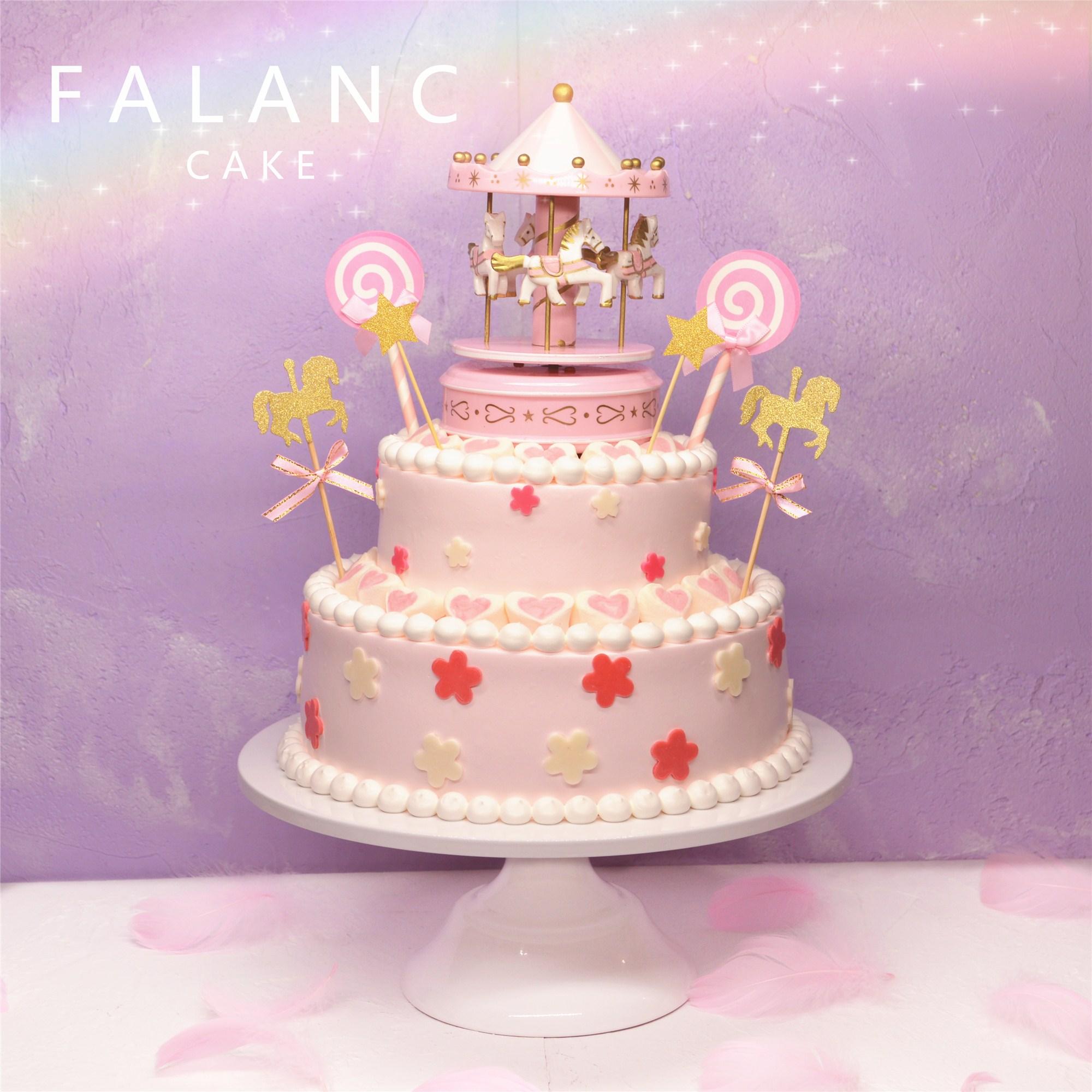 不包邮百天生日蛋糕宝宝公主创意旋转木马