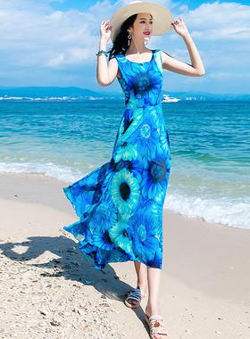 夏季女装长裙2021新款修身显瘦雪纺波西米亚连衣裙海边度假沙滩裙