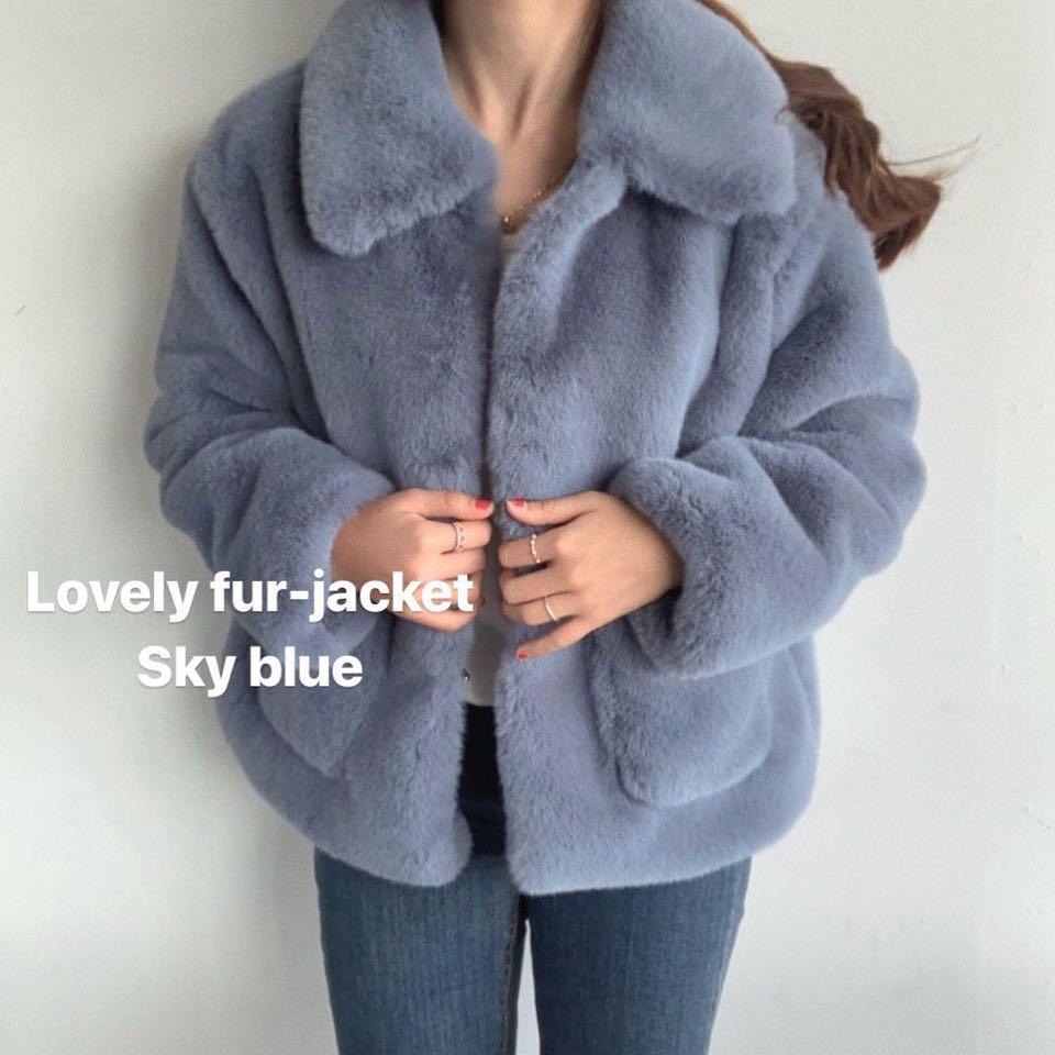 Winter 2020 big bag haze blue imitation fur ins net red fur jacket coat hairy