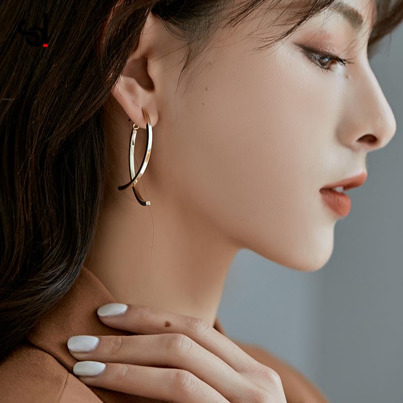 高级感耳饰女圆脸显瘦耳环2021年新款潮气质大气纯银耳钉耳坠耳夹