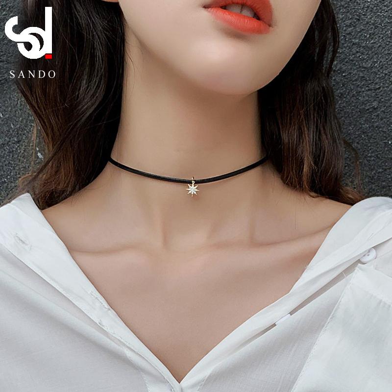 黑色皮绳项链短款锁骨链女脖子饰品颈带chocker项圈脖颈链choker