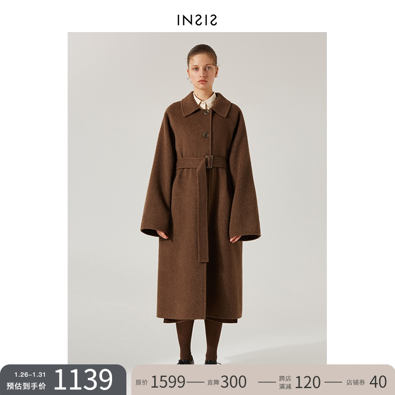 INSIS FEMME retro square collar long woolen coat women windbreaker double-sided wool autumn and winter thick temperament