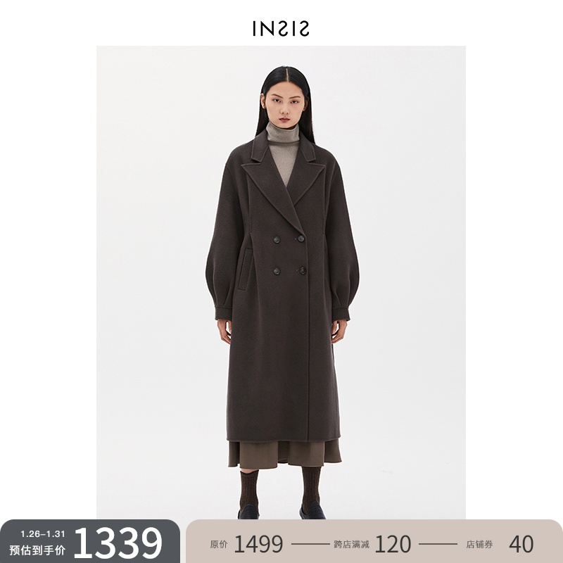 INSISFEMME retro pinched pleated lantern sleeve woolen coat long wool 2020 new autumn and winter