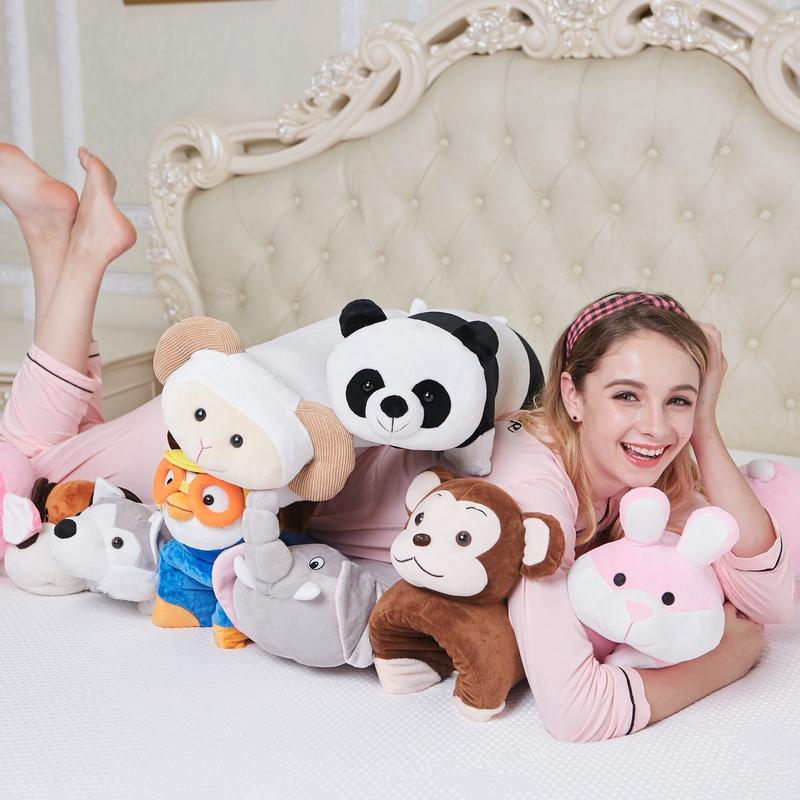 儿童卡通毛绒玩具外套乳胶枕头动物抱枕护颈枕芯网红男朋友臂弯枕