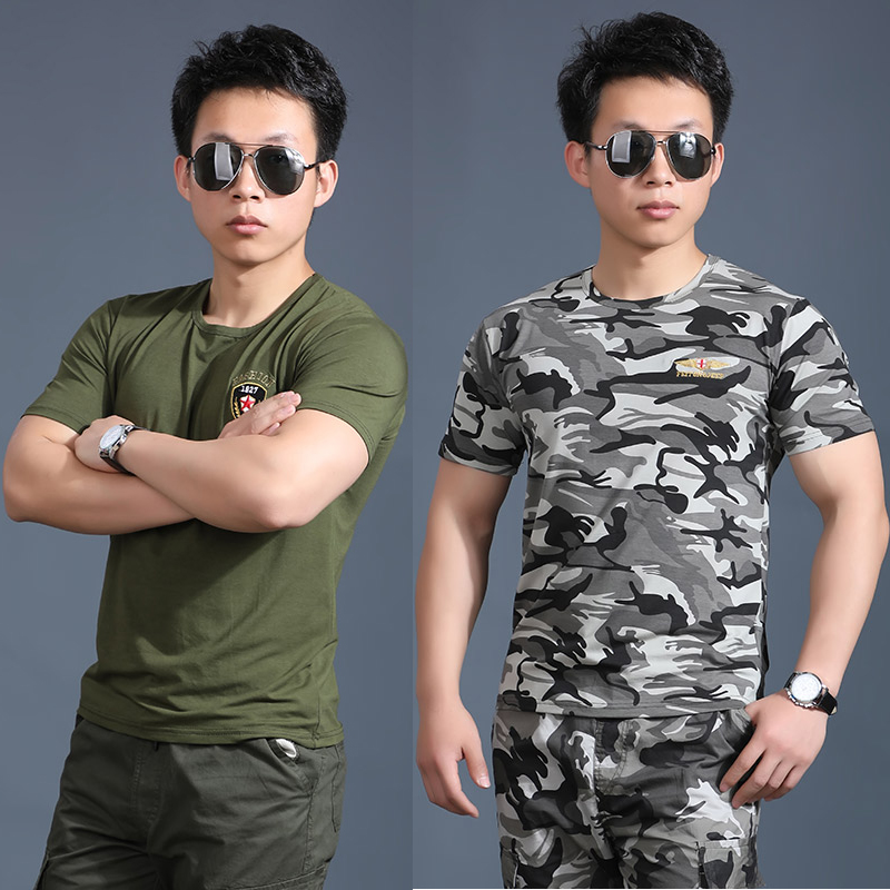 Summer camouflage short sleeve t-shirt mens black short sleeve training Chinese wolf head embroidery tight half sleeve T-shirt round neck vest