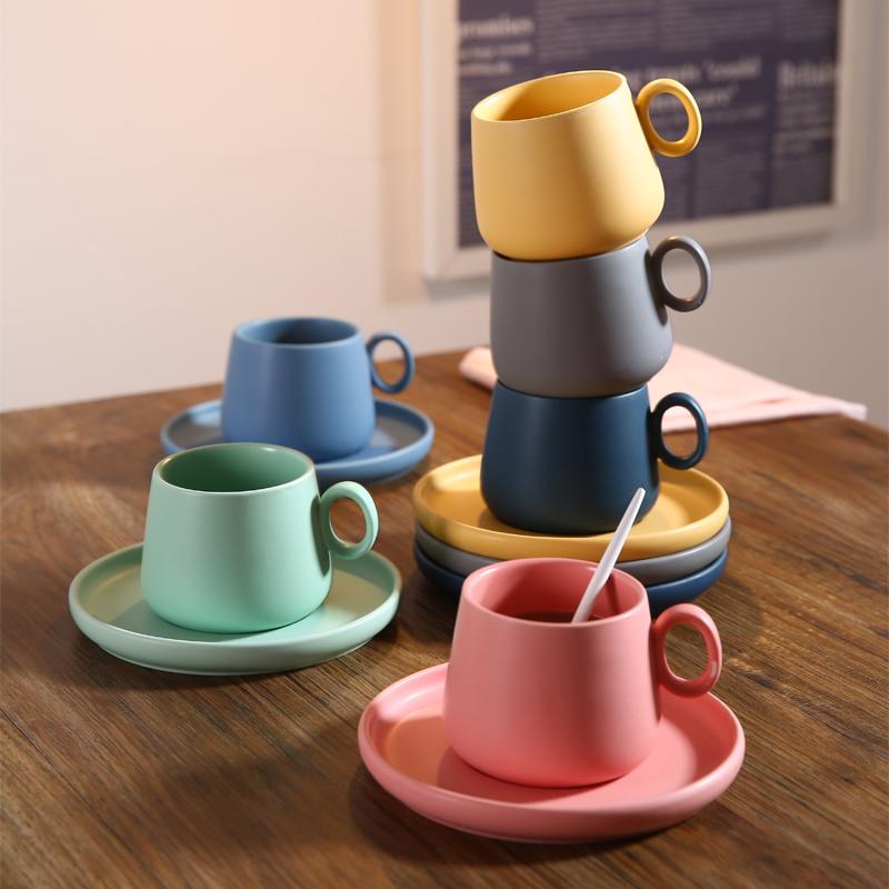 咖啡杯套装北欧风格 欧式咖啡杯碟简约日式带盖陶瓷马克杯ins杯子