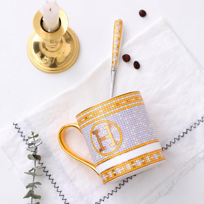 英伦高档骨瓷马克杯奢华出口欧式咖啡杯杯子下午茶红茶杯陶瓷水杯