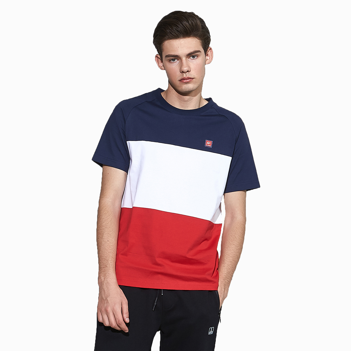 Ilys handsome comfortable versatile color matching short sleeve round neck T-shirt sports casual short sleeve
