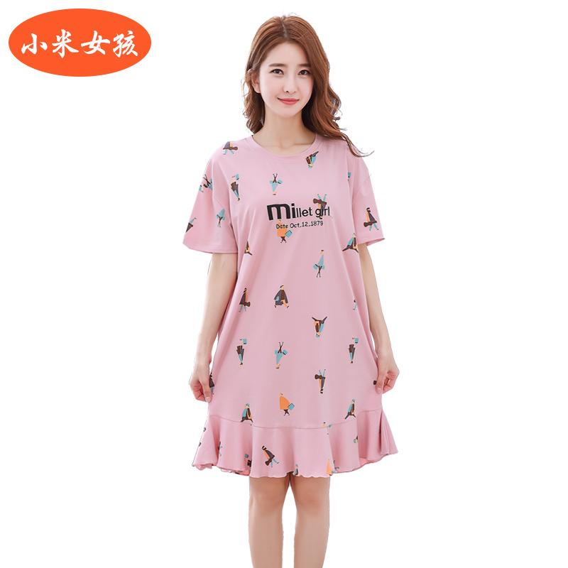 小米女孩夏季新款睡衣女士薄款卡通甜美睡裙