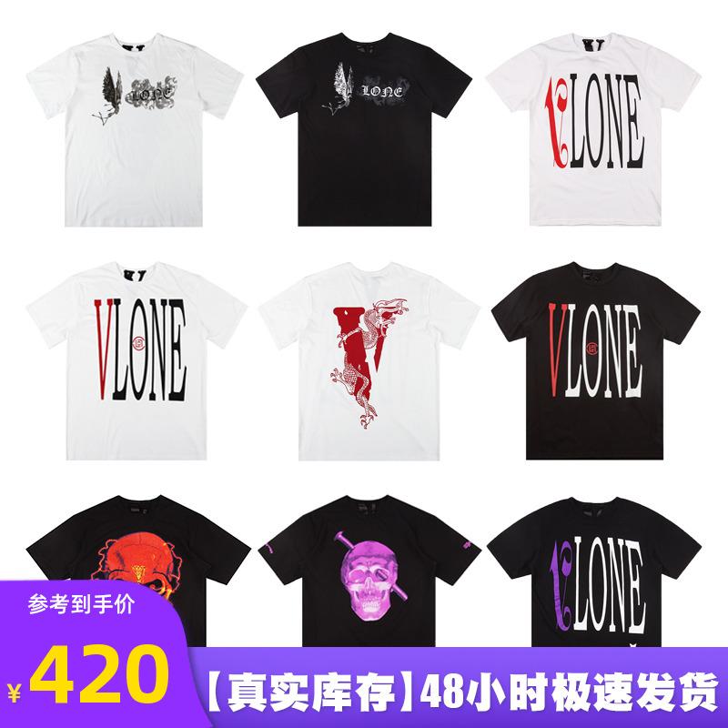 美版 VLONE x CLOT中國龍 煙霧天使大V邁阿密骷髏短袖T恤男陳冠希