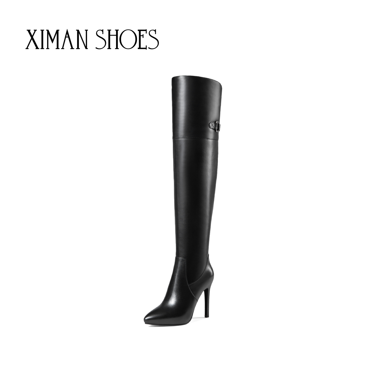 Ximan 2020 autumn and winter new leather sexy high heels knee high boots women's pointed high boots thin heels women's Boots