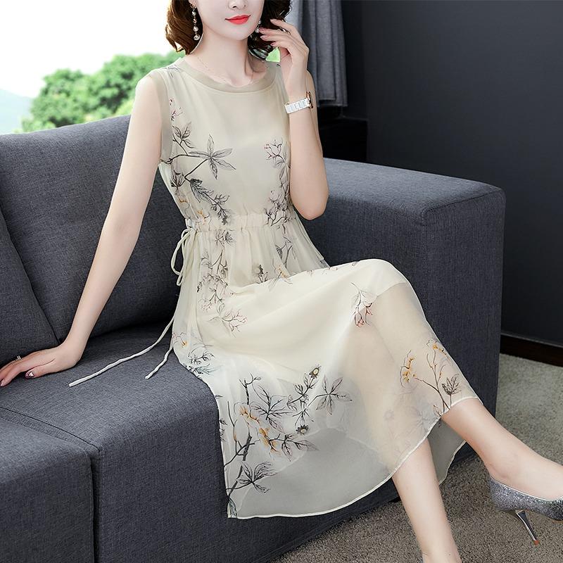 香云纱真丝连衣裙桑蚕丝2020新款夏无袖长裙很仙的小众显瘦背心裙