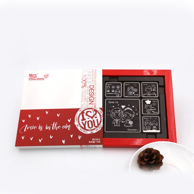 Valentines Day candy new product pure black chocolate gift box with creative love gift for girlfriend and boyfriend to express romance