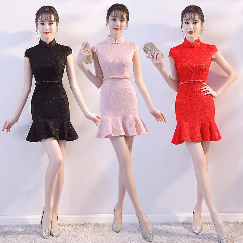 改良版旗袍短款礼服2018新款夏季日常蕾丝鱼尾时尚修身少女连衣裙