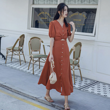 Bubble sleeve French retro Platycodon skirt V-neck shows thin and close waist temperament dress with fork and gentle wind careful machine summer